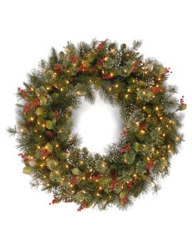 """National Tree 36"""" Wintry Pine Wreath With Cones, Red Berries, Snowflakes With 150 Clear Lights by National Tree"""
