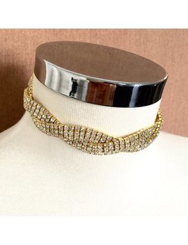 Gold Twisted Choker, Gold Crystal Choker, Bridal Chokers, Gold Necklace, Choker Jewelry, Gold Choker, Stone Choker, Chokers by Etsy