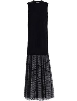 Paneled Lace, Jersey, Satin And Point D'esprit Maxi Dress by Mc Q Alexander Mc Queen
