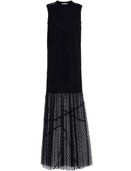 Paneled Lace, Jersey, Satin And Point D'esprit Maxi Dress by Mc Q Alexander Mc Queen