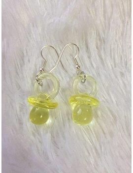 Yellow Pacifier Earrings by Etsy