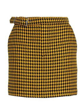 Belted Houndstooth Wool Mini Skirt by Mc Q Alexander Mc Queen