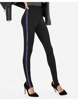 Mid Rise Supersoft Side Stripe Stirrup Leggings by Express