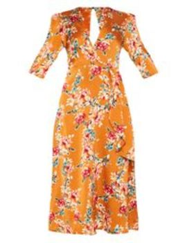 Rust Floral Satin Drape Detail Skater Midi Dress  by Prettylittlething