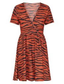 Burnt Orange Zebra Print Wrap Front Skater Dress by Prettylittlething