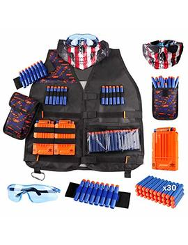Uwantme Kids Tactical Vest Kit For Nerf Guns N Strike Elite Series With Refill Darts, Dart Pouch, Reload Clips, Tactical Mask, Wrist Band And Protective Glasses For Boys by Uwantme