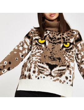 Brown Tiger Face Print Roll Neck Knit Sweater by River Island