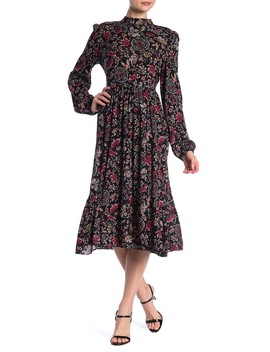 Mock Neck Printed Maxi Dress by Abound