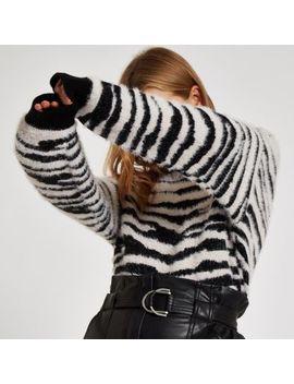 Black Zebra Print Slash Neck Sweater by River Island