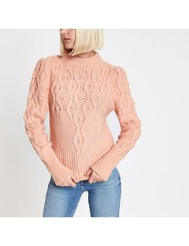 Pink Cable Knit Puff Sleeve Sweater by River Island