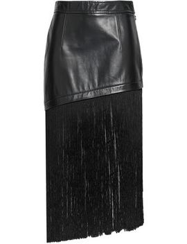 Fringe Trimmed Leather Midi Skirt by Helmut Lang