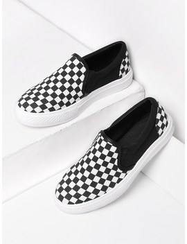 Gingham Canvas Slip On Plimsolls by Romwe