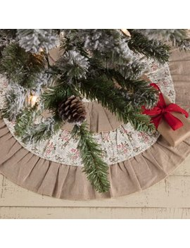 Khaki Tan Farmhouse Christmas Decor Carol Cotton Ruffling Chambray Floral / Flower Tree Skirt by Ashton & Willow