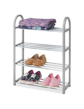 Whitmor 4 Tier Compact Shoe Rack   Gray by Whitmor