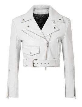 Cropped Leather Biker Jacket by Calvin Klein 205 W39 Nyc