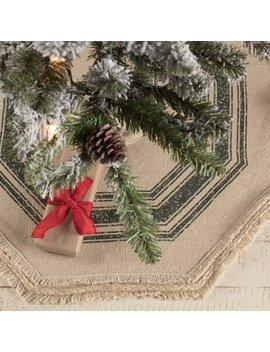 "Antique Creme Green White Farmhouse Christmas Decor Vintage Burlap Stripe Cotton Stenciled Rope Cotton Burlap Striped 21"" Diameter Tree Skirt by Ashton & Willow"