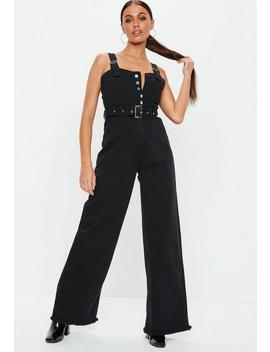 Tall Black Denim Utility Belted Wide Leg Jumpsuit by Missguided