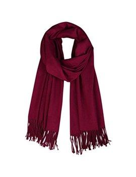 Lanzom Women Soft Cashmere Blanket Scarf Tassel Solid Color Warm Shawl Scarf by Lanzom