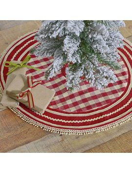"Cherry Red Farmhouse Christmas Decor Gretchen Cotton Lace Cotton Burlap Check 21"" Diameter Tree Skirt by Ashton & Willow"