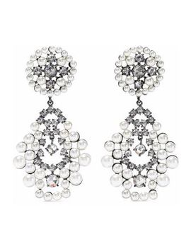 Gunmetal Tone, Faux Pearl And Crystal Earrings by Cz By Kenneth Jay Lane