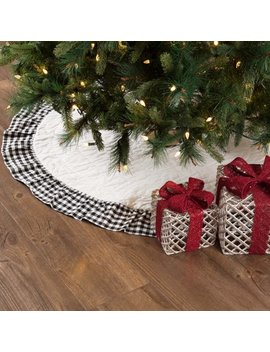 "Bright White Black Farmhouse Christmas Decor Emmie Cotton Hand Quilted Check 48"" Diameter Tree Skirt by Ashton & Willow"