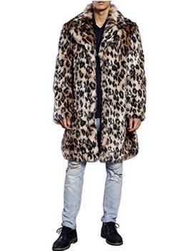 Zlslz Mens Winter Warm Leopard Faux Fur Long Length Luxury Outerwear Coat Jacket by Zlslz