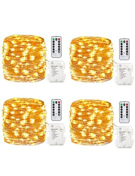 Gdealer 4 Pack Fairy Lights Fairy String Lights Battery Operated Waterproof 8 Modes 50 Led 16.4ft String Lights Copper Wire Firefly Lights Remote Control Christmas Deco Lights Warm White by Gdealer