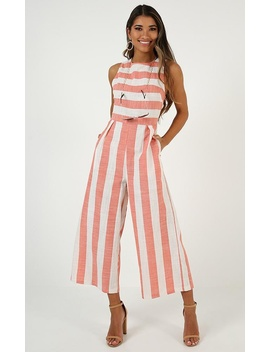 Lonely Love Jumpsuit In Coral Stripe Linen Look by Showpo Fashion
