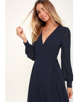 My Whole Heart Navy Blue Long Sleeve Wrap Dress by Lulus