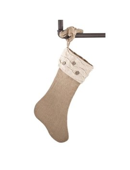 Holiday DÃcor Jute Design Natural Christmas Stocking, One Piece (Ruffles And Wood Buttons) By Fenncostyles.Com by Fennco Styles