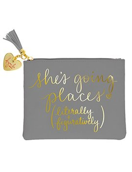 """Eccolo Dayna Lee Collection Signature Pouch Gray """"Going Places"""" by Eccolo World Traveler"""