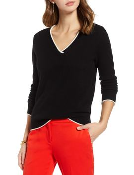 Rolled Edge1901 Rolled V Neck Cashmere Sweater by 1901