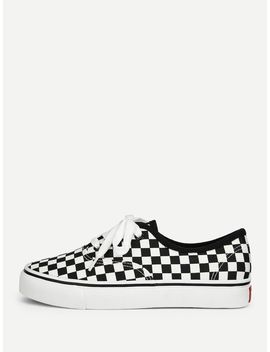 Gingham Lace Up Sneakers by Romwe