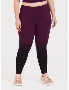 Burgundy Dip Dye Wicking Active Legging by Torrid