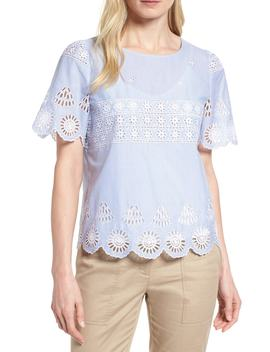 Short Sleeve Eyelet Top by Nordstrom Signature