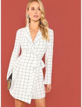 Shawl Collar Surplice Wrap Grid Dress by Shein