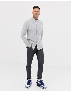 Asos Design Slim Oxford Shirt In Grey Yarn Dye by Asos Design
