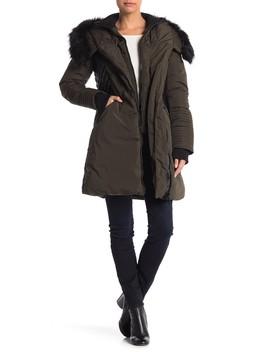 Sam Faux Fur Trim Contrast Faux Leather Jacket by Noize