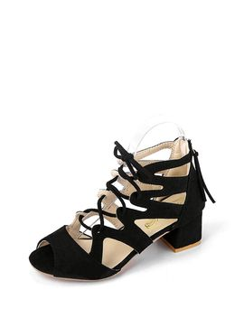Cut Out Lace Up Block Heels by Romwe