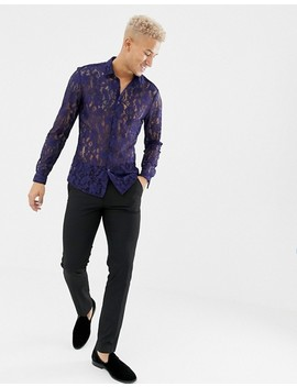 Asos Design Party Slim Fit Lace Shirt In Navy by Asos Design