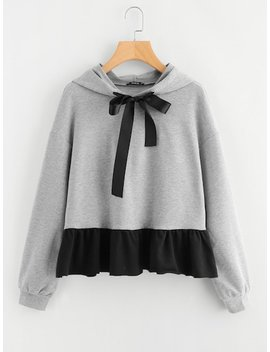 Plus Drop Shoulder Two Tone Hoodie by Shein