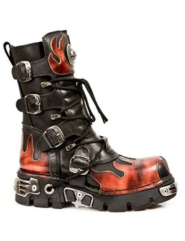 Newrock New Rock 591 S1 Red Flame Metal Black Leather Heavy Punk Gothic Boots by New Rock