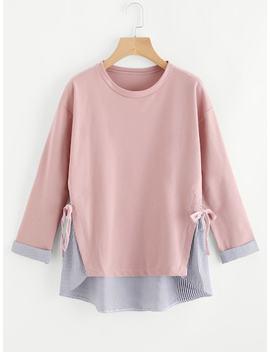 Plus Striped Hem Sweatshirt by Sheinside