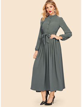 Tie Waist Faux Pearl Detail Longline Dress by Sheinside