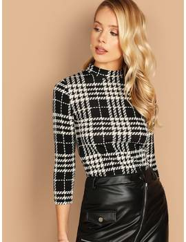 Mock Neck Plaid T Shirt by Shein