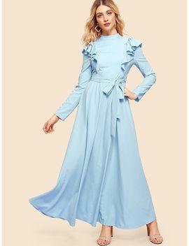 Mock Neck Flounce Embellished Dress by Shein