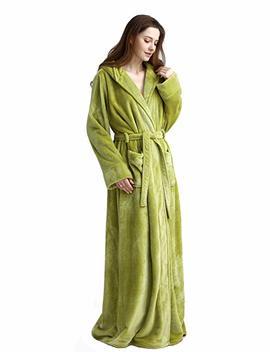 Womens Long Hooded Bathrobe Fleece Full Length Bathrobe With Hood Winter Sleepwear by Icreat