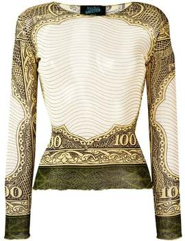 100 Dollar Bill Print Top by Jean Paul Gaultier Vintage