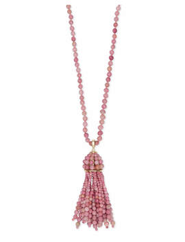 Sylvia Gold Long Pendant Necklace In Pink Rhodonite by Kendra Scott