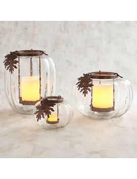 Clear Glass Pumpkin With Oak Leaves Candle Holder by Pier1 Imports